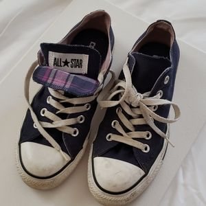 Converse- Double tongue, Navy & Pink plaid, W7 M5
